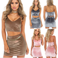 lx10186a new arrival ladies crop top fancy clothes women sexy mini skirt