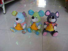 35cm promotional customized stuffed 3-colour plush mouse(mice) wild animal toy with striped undershirt&sandwich bread