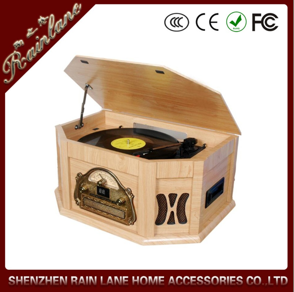 Rain Lane Antique Gramophone Retro Radio LP Cassette USB SD CD Player Turntable Record Player