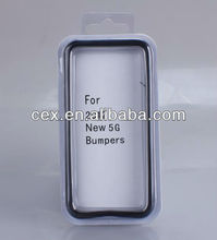 Wholesale Black Clear Bumper Frame TPU Silicone Case for iPhone 5 metal Volume Button
