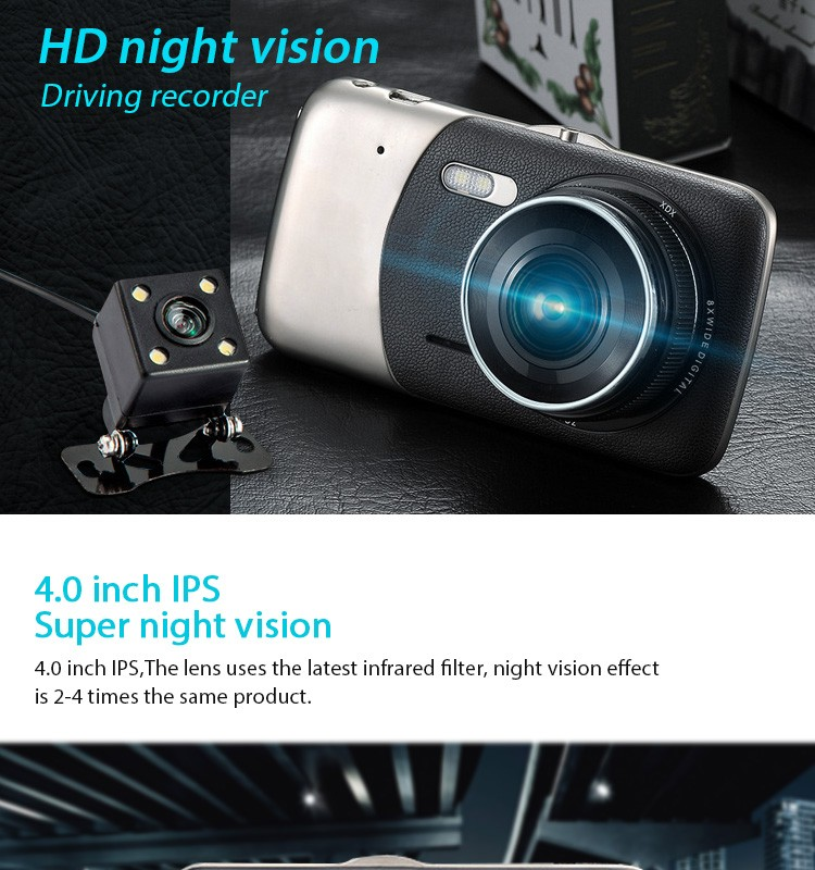 New LGI-300 Hot Sale Full HD 1080p 4.0 inch Car Dvr with Front and Rear Dual Lens Dash Camera