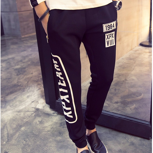 MS70263G Fashion designed young men's words printed tapered sweat pants men sports pants