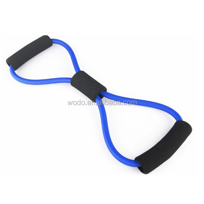 custom logo gym training equipment natural rubber latex resistance training x shape expander