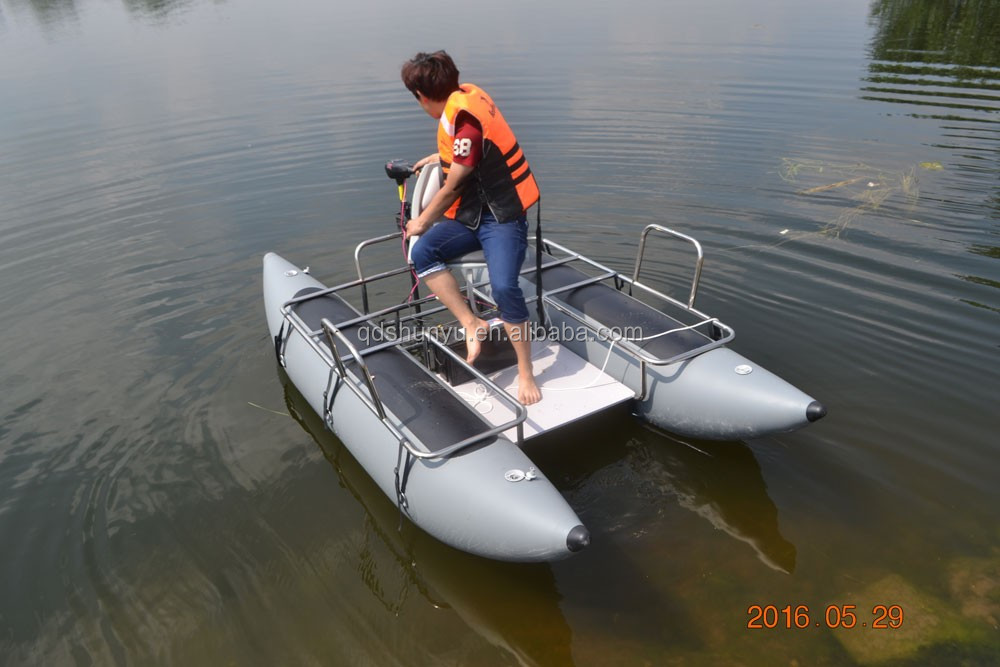 Hot ce 10ft inflatable pontoon boat for fishing buy for Inflatable pontoon boat fishing