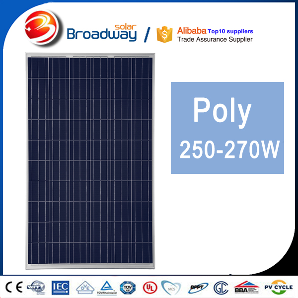 China PV Manufacturer Broadway 260 260Wp Poly Solar Panel 5KW 10KW Home Package Solutions