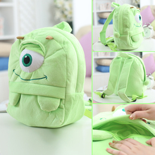 25*19cm(S)/35*28cm(L) lovely customzied green big-eye monster plush animal cartoon backpack for children