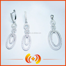 HF1340 fashion double round shape jewelry set design micro pave cz