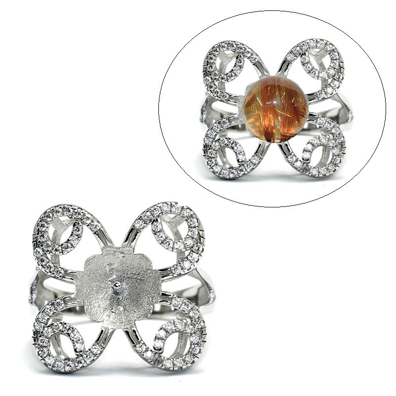 Beadsnice ID30568 solid butterfly sets micro pave US size 7 to 9 fit 9mm round sold by PC silver ring blanks