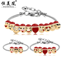 2016 Promotional Jewelry18 K Gold Plated Emoji Bead Bracelet 10 Charms With Snake Chain Christmas Bracelet for women