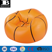 heavy duty thick PVC inflatable basketball chair durable plastic blow up garden round lazy sofa beanless bag furniture