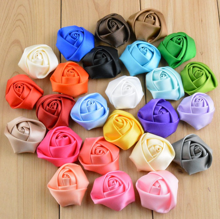 5cm DIY Baby Satin Rolled Ribbon Rose Flowers fabric rosettes flower women's hair accessory