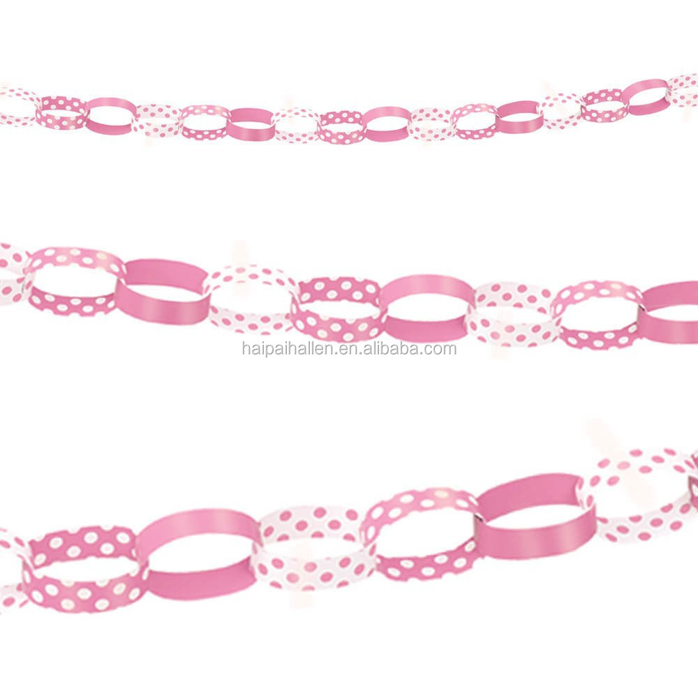 Vintage Shabby chic Polka Dot Pink & White Paper Chain Garland Decoration
