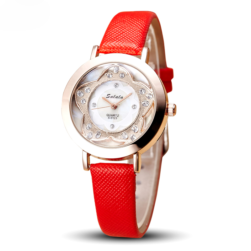 Custom Lady Wrist Watch Quartz Woman Hours Best Fashion Dress Korea Bracelet watch Brand Leather flower Crystal watches