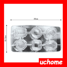 UCHOME 100% Food grade Romantic jewels diamond shape plastic ice cube tray