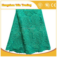 "Beautiful Green Mesh Materials 51-52"" Wholesale Teal Swiss Lace Fabrics/ New 2016 Indian French Lace With Beads"