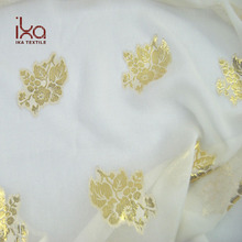 White Luxury Wholesale Chinese Woven Jacquard Gold Lurex Silk Chiffon Fabric for Garment