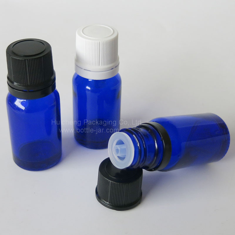 High quality 10ml cobalt blue glass hair oil bottle with orifice reducer