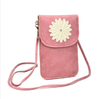 2015 Factory Wholesale Top Quality Custom Pink Fashion Long Strap PU Leather Mobile Phone Shoulder Bag for Girls