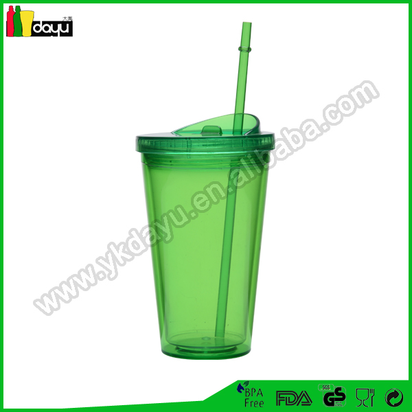 16OZ/500ML Double wall plastic tumbler with high dome lid & ice cube