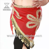 2012 new hot selling sexy belly dance belts, tassels design coin belly dance bead belt hip scarf (YL094)