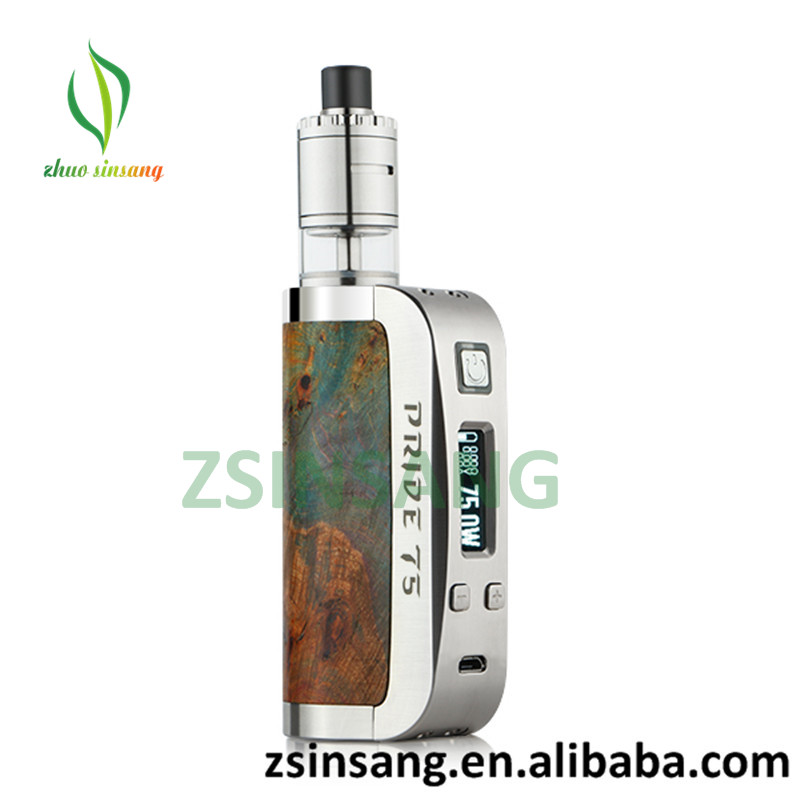 Newest Box Mod Battery Athena PRIDE 75W Box Mod Stabilized Wood+SS Evolv DNA75 chip