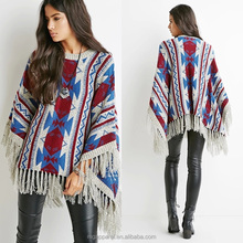 china OEM women poncho sweater pattern long sleeve pullover mexican poncho with fringe
