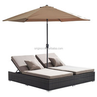 chaise lounger designed for 2 people with adjustable back and umbrella hole rattan sun bed