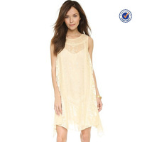 Sleeveless scoop neckline lace embroidered dress trendy clothing wholesale