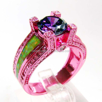 2015 Popular Opal Stone Pink Gold Plated Finger Ring For Lady's , Color Plated Opal Ring Accepted By paypal