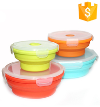 Durable Service Collapsible Food Carrier Silicone Folding Ovenable Tiffin Lunch Box