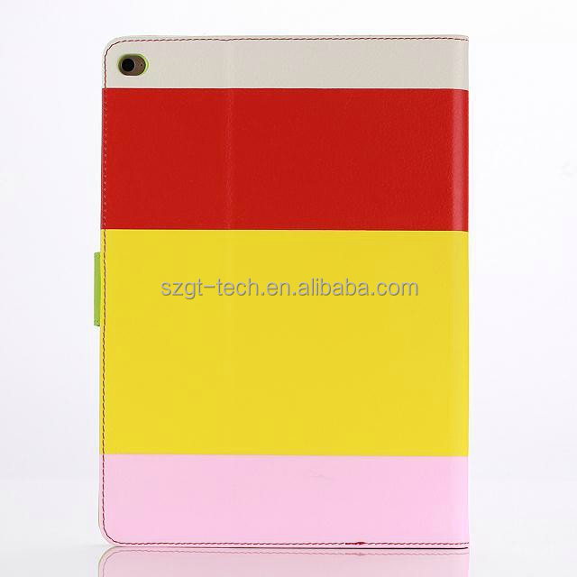 Factory cheap price for ipad air 2 mixed color pu leather case