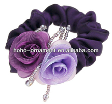 High-end hair headwear Soft double color bead curtain rose hair rope hair bands Elastic