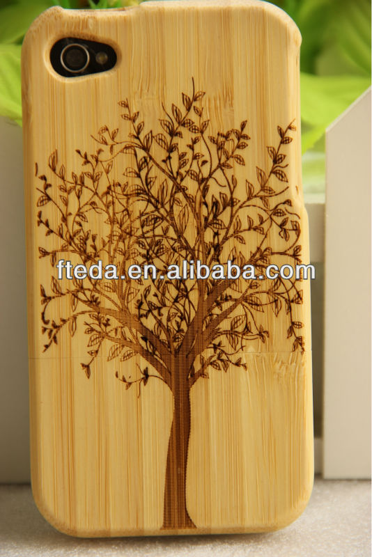 Tree engraved full bamboo material for iphone4S bamboo cases