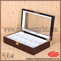 Clear window top locking wooden jewelry box with dividers