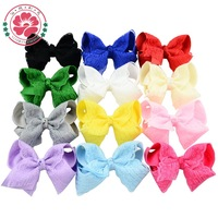 Fashion Boutique Hair Bows with Clip Baby Girls Grosgrain Ribbon Lace Hairbows Hairpins Kids Hair Accessories 599