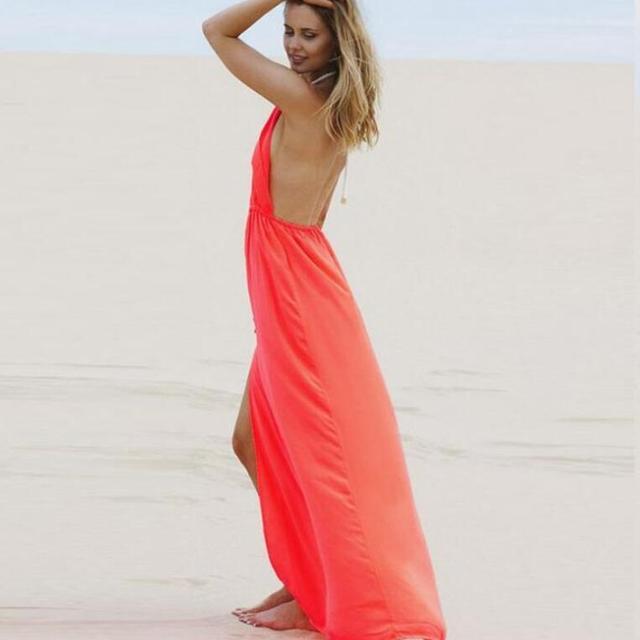 2018 Beachwear Boho Orange Sexy Women Long Backless Dresses