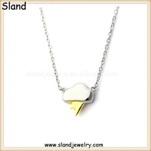 New design Italy style fashion jewelry sterling silver necklace with silver dark cloud and gold plated flash thunder pendant