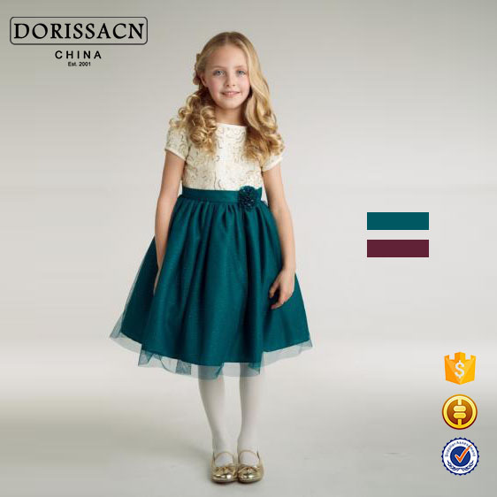 2016 DORISSA new design kids girl dresses satin boutique angel dresses for 4/5/6/7 years old girls dresses manufacturer
