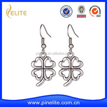 custom metal earrings with plating antique silver, lucky four-leaf clover shaped earrings