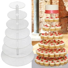 7 Tier Clear Acrylic Round Cupcake Stand Wedding Birthday Cake Display Tower acrylic dessert stand