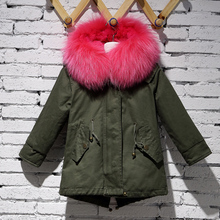 Cheap children winter coat parka with raccoon fur collar