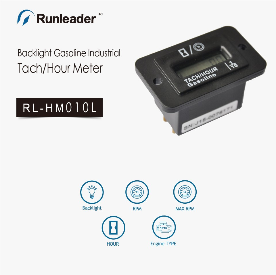 waterproof backlight runleader gasoline hour meter techmeter