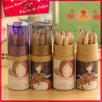 wholesale stationery 12 pcs in one box cute girls drawing pen color pencil with sharpener