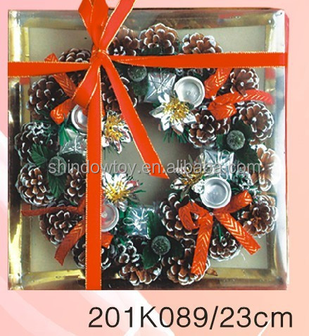 Fashional Style Cheap christmas Garland artificial multicoloured floral hoop box