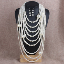Long Multi 7 Strand Multilayered Pearl Beaded Chunky Statement Necklace Earrings Set