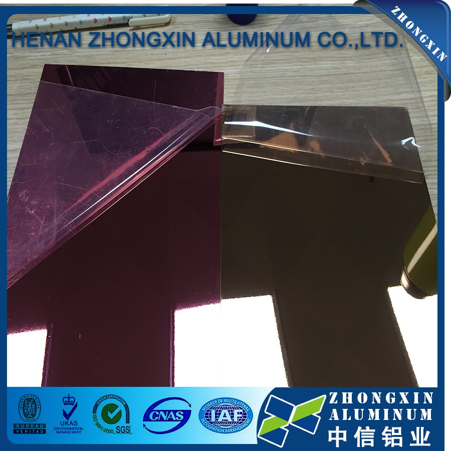 high reflective gold mirror aluminum sheet for ceiling with plastic protective film