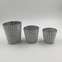 Crafts gift Silver mercury mosaic glass votive candle holder
