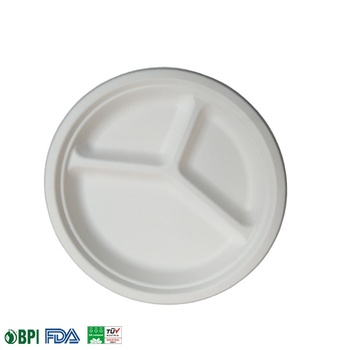 100% Biodegradable & Compostable  Bagasse 3 compartment