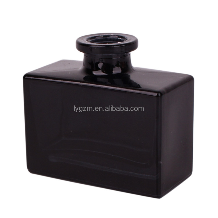 Luxury black square reed diffuser glass bottle for aroma fragrance