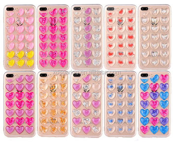 Hot sell tpu gel cover case for iPhone 7 7 Plus 3D heart design